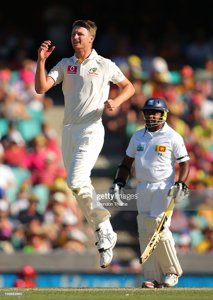 Jackson Bird of Australia reacts to a close wicket opportunity during day one of the Third Test match between Australia and Sri Lanka at the Sydney Cricket Ground on January 3, 2013 in Sydney, Australia.