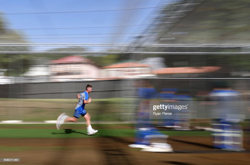 Jackson Bird of Australia runs in to bowl during an Australian nets session at Basin Reserve on February 11, 2016 in Wellington, New Zealand.