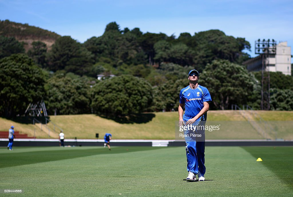 <a gi-track='captionPersonalityLinkClicked' href=/galleries/search?phrase=Jackson+Bird&family=editorial&specificpeople=8665256 ng-click='$event.stopPropagation()'>Jackson Bird</a> of Australia warms up during an Australian nets session at Basin Reserve on February 11, 2016 in Wellington, New Zealand.