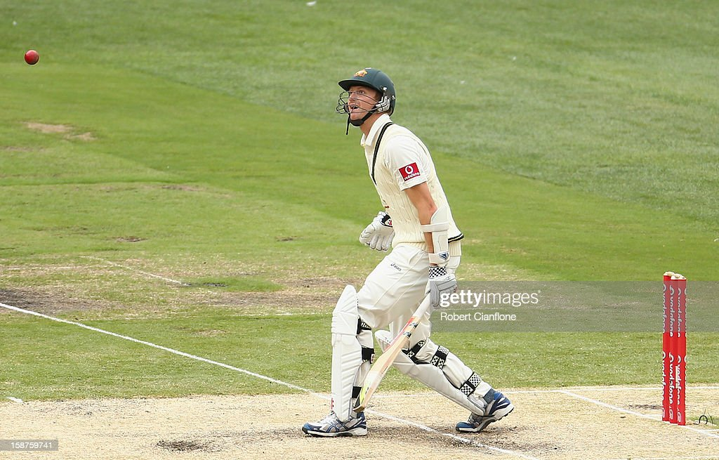 Jackson Bird of Australia watches the ball during day three of the Second Test match between Australia and Sri Lanka at Melbourne Cricket Ground on December 28, 2012 in Melbourne, Australia.