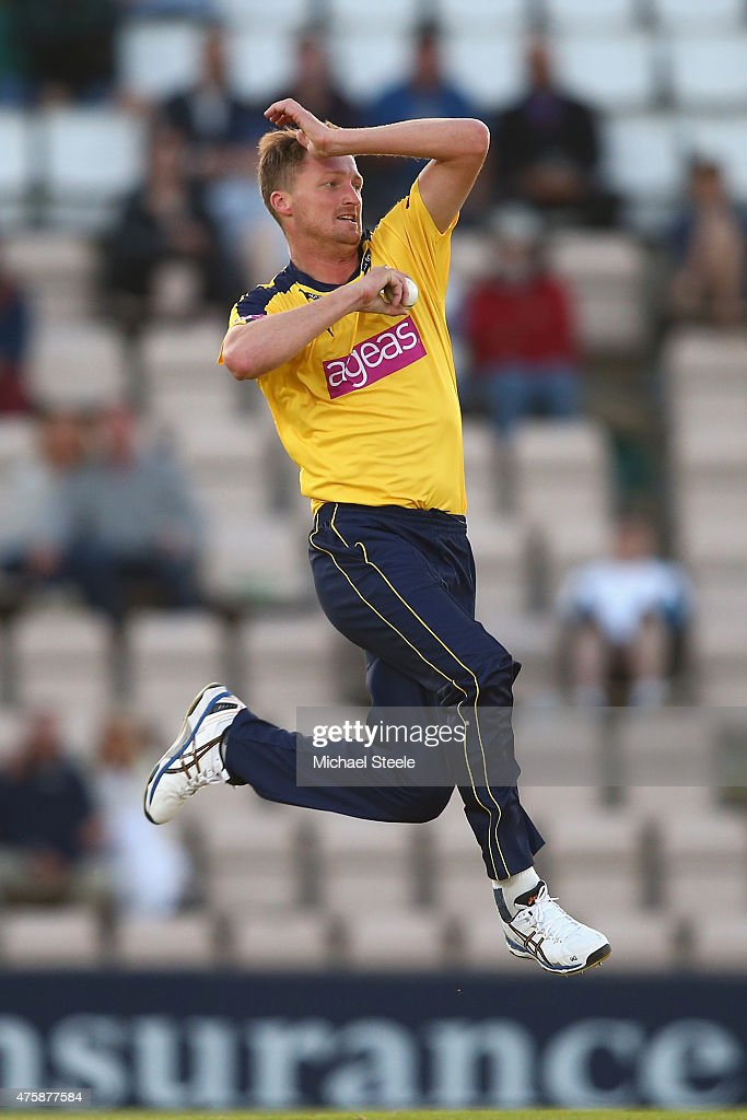 Jackson Bird of Hampshire bowls during the NatWest T20 Blast match between Hampshire and Middlesex at the Ageas Bowl on June 4 2015 in Southampton...