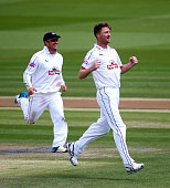 Jackson Bird of Hampshire celebrates after taking the wicket of Ben Brown of Sussex during day three of the LV County Championship match between...