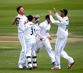 Jackson Bird of Hampshire celebrates with team mates after taking the wicket of Ben Brown of Sussex during day three of the LV County Championship...