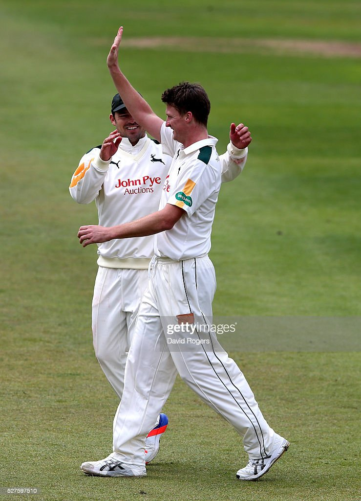 <a gi-track='captionPersonalityLinkClicked' href=/galleries/search?phrase=Jackson+Bird&family=editorial&specificpeople=8665256 ng-click='$event.stopPropagation()'>Jackson Bird</a> of Nottinghamshire celebrates after taking the wicket of <a gi-track='captionPersonalityLinkClicked' href=/galleries/search?phrase=David+Willey+-+Cricketer&family=editorial&specificpeople=14835104 ng-click='$event.stopPropagation()'>David Willey</a> during the Specsavers County Championship division one match between Nottinghamshire and Yorkshire at the Trent Bridge on May 3, 2016 in Nottingham, England.
