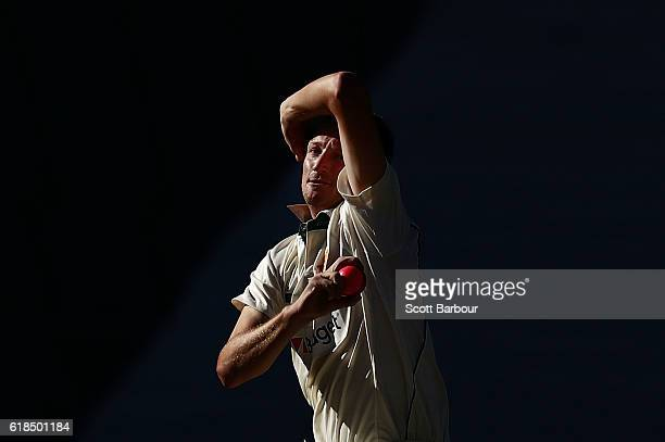 Jackson Bird of Tasmania bowls during day three of the Sheffield Shield match between Victoria and Tasmania at the Melbourne Cricket Ground on...