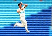 Jackson Bird of Tasmania bowls during day two of the Sheffield Shield match between Tasmania and South Australia at Blundstone Arena on December 10...