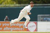 Jackson Bird of Tasmania bowls during day two of the Sheffield Shield match between Tasmania and Western Australia at Blundstone Arena on October 29...