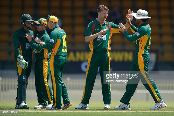 Jackson Bird of Tasmania celebrates after taking the wicket of Will Bosisto of the Cricket Australia XI during the Matador BBQs One Day Cup match...