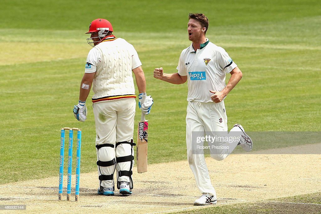 <a gi-track='captionPersonalityLinkClicked' href=/galleries/search?phrase=Jackson+Bird&family=editorial&specificpeople=8665256 ng-click='$event.stopPropagation()'>Jackson Bird</a> of Tasmania celebrates taking the wicket of <a gi-track='captionPersonalityLinkClicked' href=/galleries/search?phrase=Mark+Cosgrove&family=editorial&specificpeople=227329 ng-click='$event.stopPropagation()'>Mark Cosgrove</a> of South Australia during day four of the Sheffield Shield match between Tasmania and South Australia at Blundstone Arena on December 12, 2014 in Hobart, Australia.