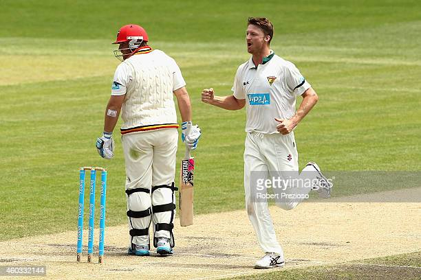 Jackson Bird of Tasmania celebrates taking the wicket of Mark Cosgrove of South Australia during day four of the Sheffield Shield match between...