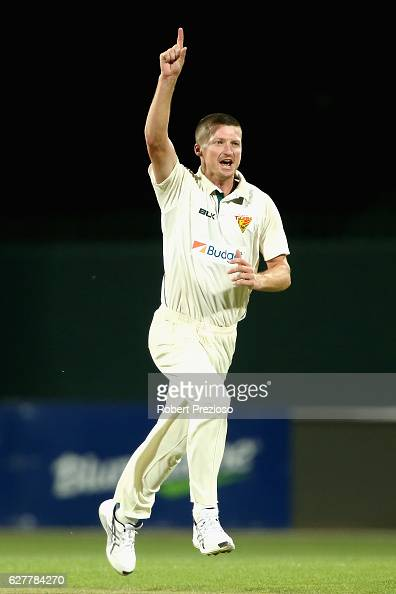 Jackson Bird of Tasmania celebrates the wicket of Marcus Stoinis of Victoria during day one of the Sheffield Shield match between Tasmania and...