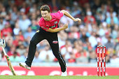 Jackson Bird of the Sixers bowls during the Big Bash League match between the Melbourne Renegades and the Sydney Sixers at Etihad Stadium on December...