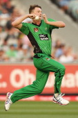 Jackson Bird of the Stars bowls during the Big Bash League match between the Melbourne Stars and the Adelaide Strikers at the Melbourne Cricket...