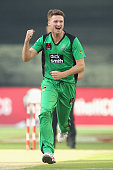 Jackson Bird of the Stars celebrates after taking the wicket of Alex Hales of the Hurricanes during the Big Bash League match between the Melbourne...