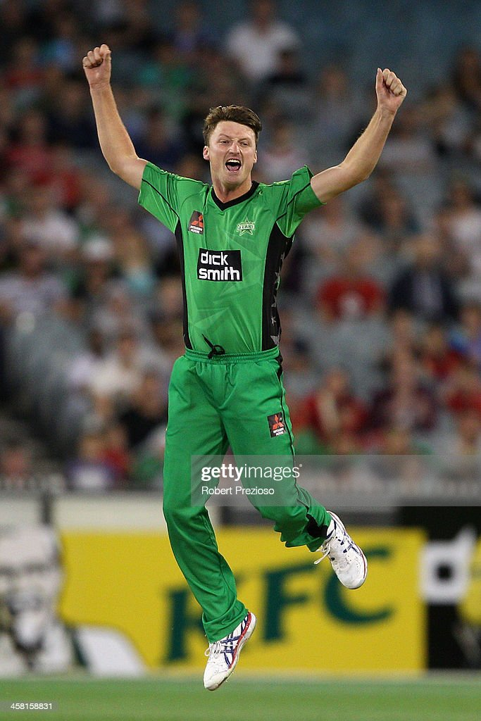 Jackson Bird of the Stars celebrates taking the wicket of Tom Cooper of the Renegades during the Big Bash League match between the Melbourne Stars...