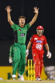 Jackson Bird of the Stars celebrates the dismissal of Ben Rohrer of the Renegades during the Big Bash League match between the Melbourne Renegades...