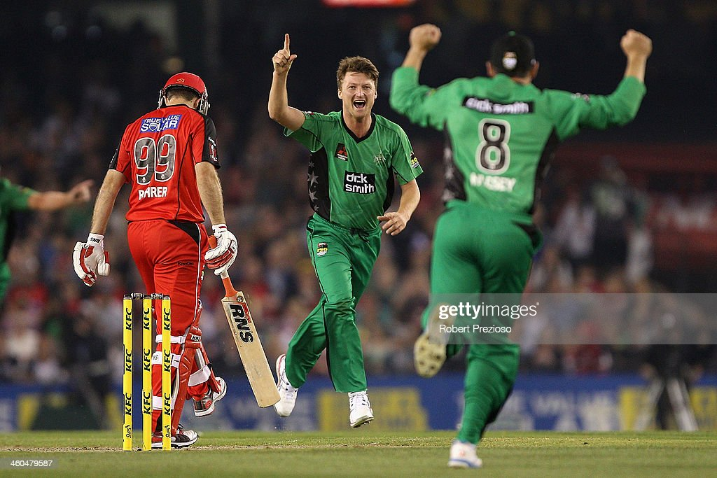 <a gi-track='captionPersonalityLinkClicked' href=/galleries/search?phrase=Jackson+Bird&family=editorial&specificpeople=8665256 ng-click='$event.stopPropagation()'>Jackson Bird</a> of the Stars celebrates the wicket of Ben Rohrer of the Renegades during the Big Bash League match between the Melbourne Renegades and the Melbourne Stars at Etihad Stadium on January 4, 2014 in Melbourne, Australia.