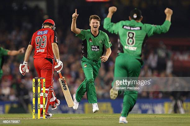 Jackson Bird of the Stars celebrates the wicket of Ben Rohrer of the Renegades during the Big Bash League match between the Melbourne Renegades and...