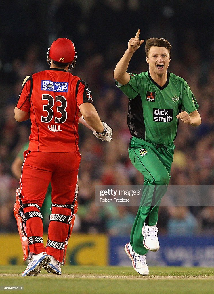 Jackson Bird of the Stars celebrates the wicket of Michael Hill of the Renegades during the Big Bash League match between the Melbourne Renegades and the Melbourne Stars at Etihad Stadium on January 4, 2014 in Melbourne, Australia.