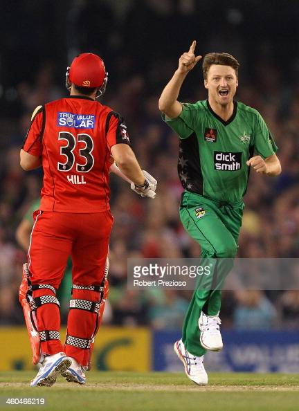 Jackson Bird of the Stars celebrates the wicket of Michael Hill of the Renegades during the Big Bash League match between the Melbourne Renegades and...