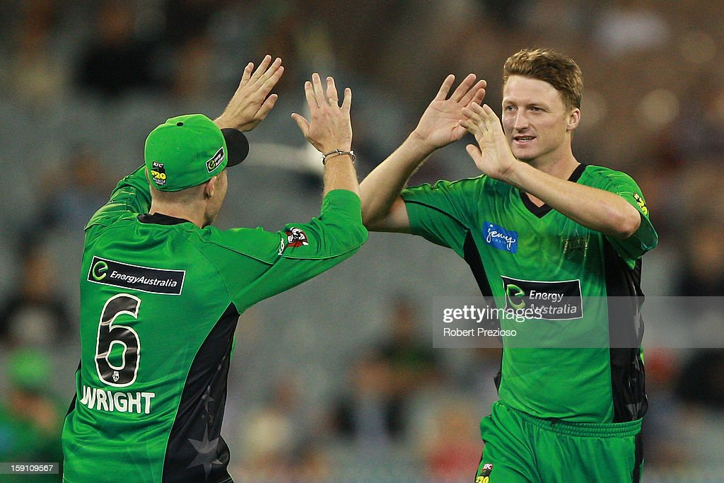 Jackson Bird of the Stars celebrates the wicket of Usman Khawaja of the Thunder during the Big Bash League match between the Melbourne Stars and the Sydney Thunder at Melbourne Cricket Ground on January 8, 2013 in Melbourne, Australia.