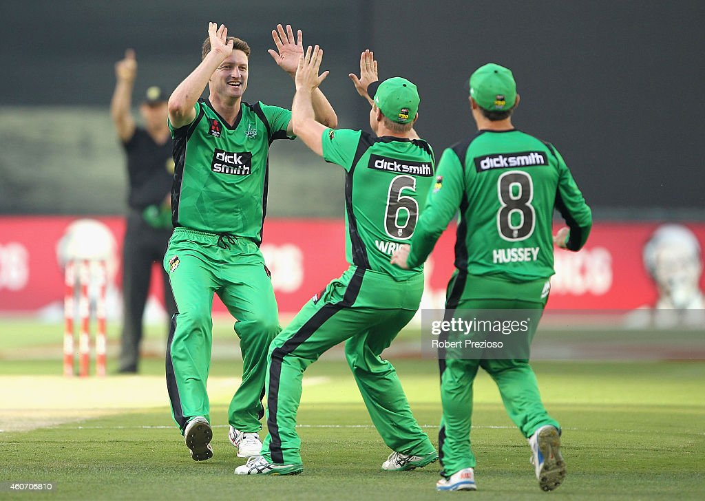 Jackson Bird of the Stars celebrates with teammates after taking the wicket of Alex Hales of the Hurricanes during the Big Bash League match between...