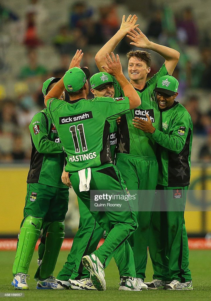 Jackson Bird of the Stars is congratulated by team mates after taking the wicket of Joseph Buttler of the Renegades during the Big Bash League match...