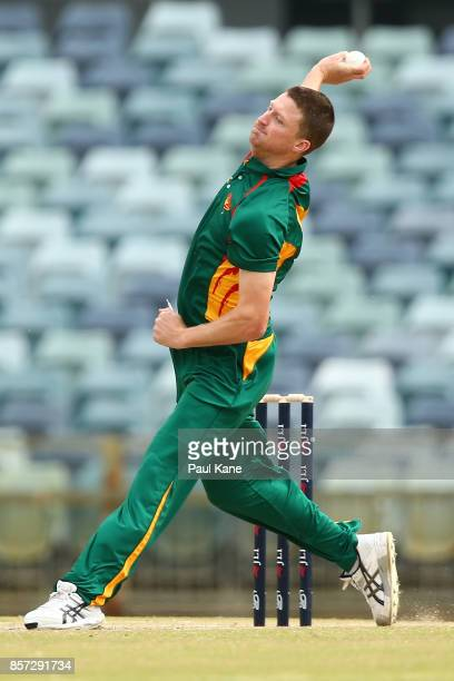 Jackson Bird of the Tigers bowls during the JLT One Day Cup match between Victoria and Tasmania at WACA on October 4 2017 in Perth Australia
