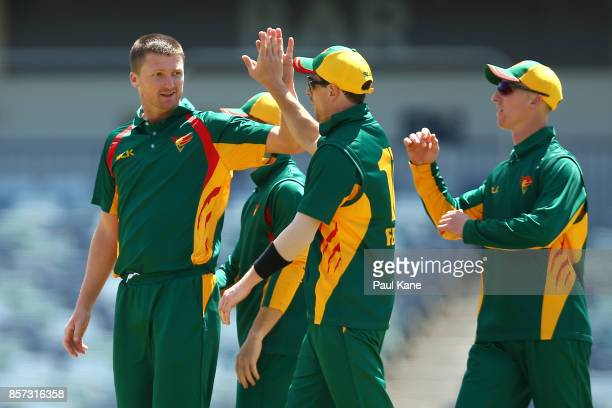Jackson Bird of the Tigers celebrates the wicket of Will Pucovski of the Bushrangers during the JLT One Day Cup match between Victoria and Tasmania...