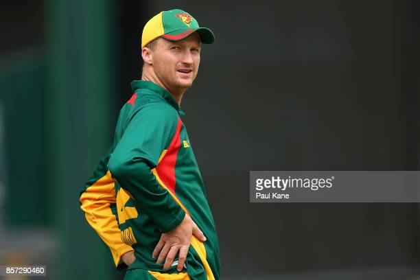 Jackson Bird of the Tigers looks to the scoreboard during the JLT One Day Cup match between Victoria and Tasmania at WACA on October 4 2017 in Perth...