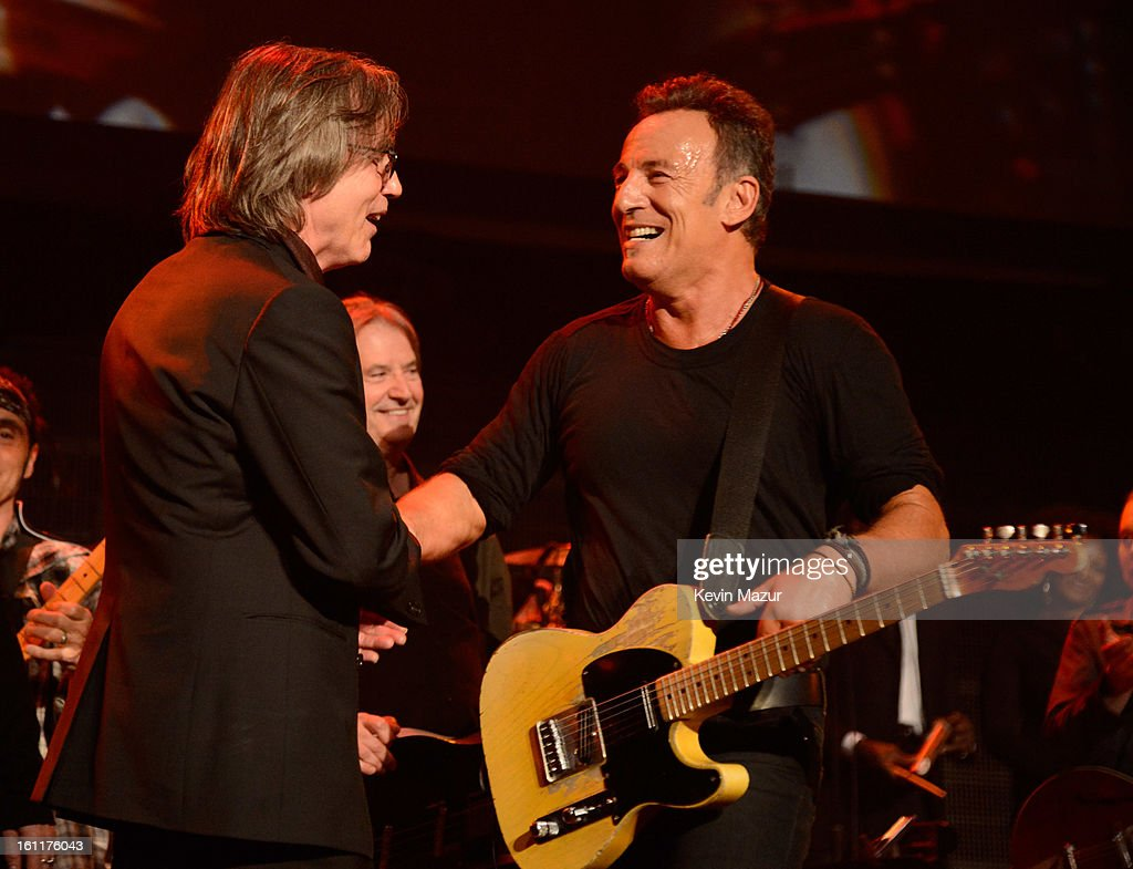 Jackson Browne and Bruce Springsteen onstage at MusiCares Person Of The Year Honoring Bruce Springsteen at Los Angeles Convention Center on February 8, 2013 in Los Angeles, California.