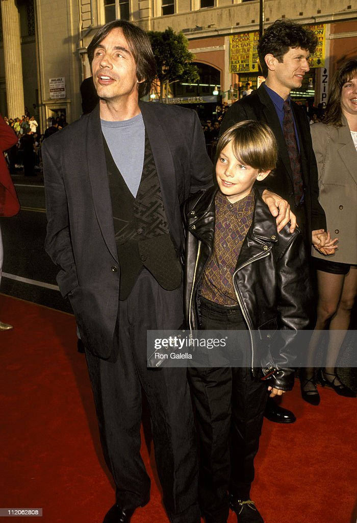Jackson Browne and son Ryan Browne at World Premiere of 'Batman Returns' at Mann's Chinese Theatre in Hollywood, California on June 16, 1992