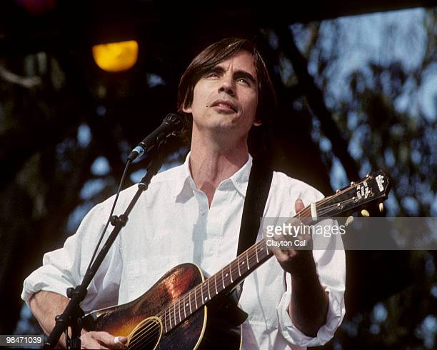 Jackson Browne performing at the Bill Graham Memorial Concert in Golden Gate Park on November 3 1991
