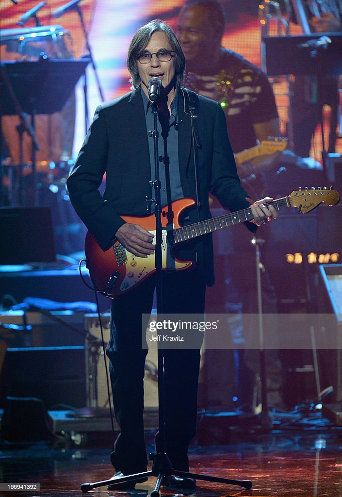 Jackson Browne performs at the 28th Annual Rock and Roll Hall of Fame Induction Ceremony at Nokia Theatre L.A. Live on April 18, 2013 in Los Angeles, California.