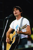 Jackson Browne performs at the Amnesty International Concert at Giants Stadium circa 1986 in East Rutherford New Jersey