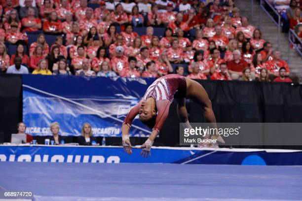 Jackson for Oklahoma Sooners gymnast competes in the floor exercise during the Division I Women's Gymnastics Championship is held at Chaifetz Arena...