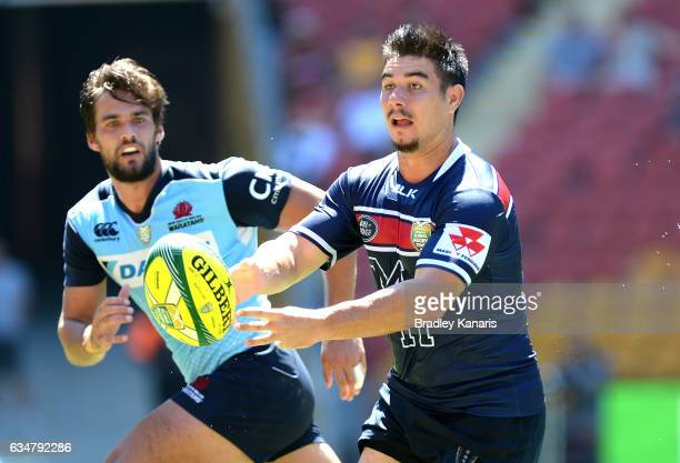 Jackson GardenBachop of the Rebels passes the ball during the Rugby Global Tens match between the New South Wales Waratahs and Melbourne Rebels at...