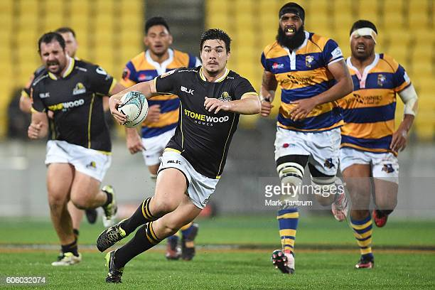 Jackson GardenBachop of Wellington Lions makes a run during the Mitre 10 Cup round five match between Wellington and Bay of Plenty at Westpac Stadium...