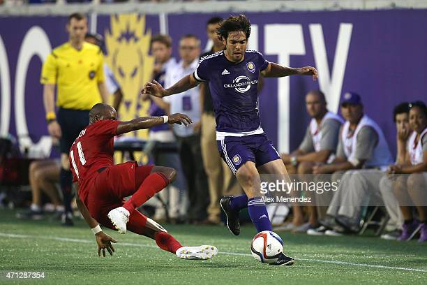Jackson Goncalves of Toronto FC plays defense against Kaka of Orlando City SC during an MLS soccer match between Toronto FC and the Orlando City SC...