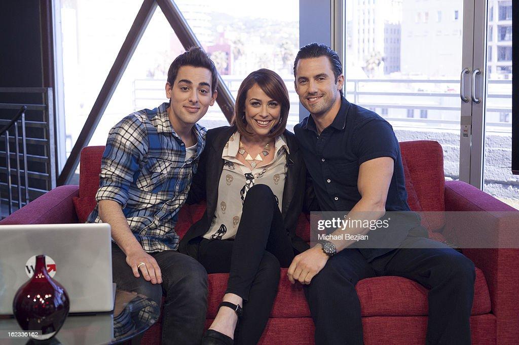 Jackson Harris, Shira Lazar and Milo Ventimiglia attend Milo Ventimiglia Visits 'What's Trending' on February 21, 2013 in Hollywood, California.