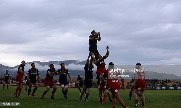 Jackson Hemopo of the Highlanders takes clean lineout ball during the Super Rugby trial match between the Highlanders and the Crusaders at Fred Booth...