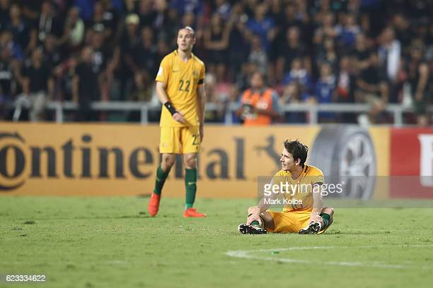 Jackson Irvine and Robbie Kruse of the Socceroos look dejected after a 22 draw the 2018 FIFA World Cup Qualifier match between Thailand and the...