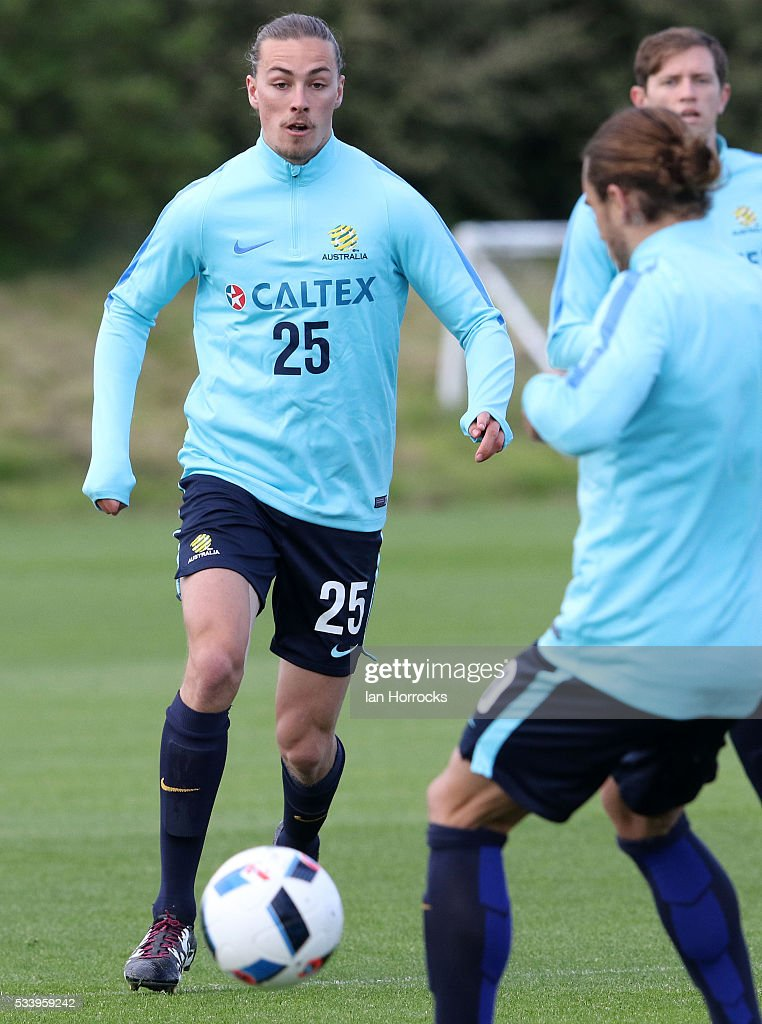 Jackson Irvine during an Australia National football team training session at The Academy of Light on May 24, 2016 in Sunderland, England.