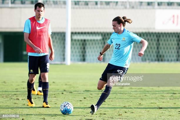Jackson Irvine of Australia in action during an Australia training session at Ajinomoto Field Nishigaoka ahead of the FIFA World Cup qualifier...