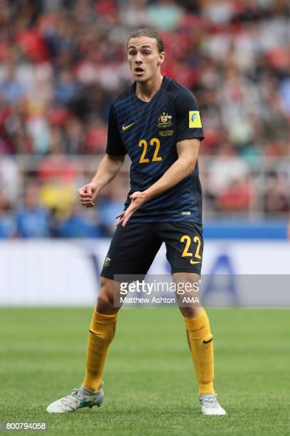 Jackson Irvine of Australia in action during the FIFA Confederations Cup Russia 2017 Group B match between Chile and Australia at Spartak Stadium on...