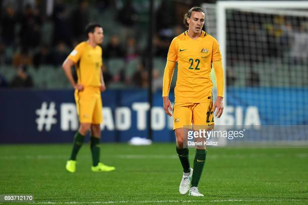 Jackson Irvine of Australia reacts after Saudi Arabia scores a goal during the 2018 FIFA World Cup Qualifier match between the Australian Socceroos...