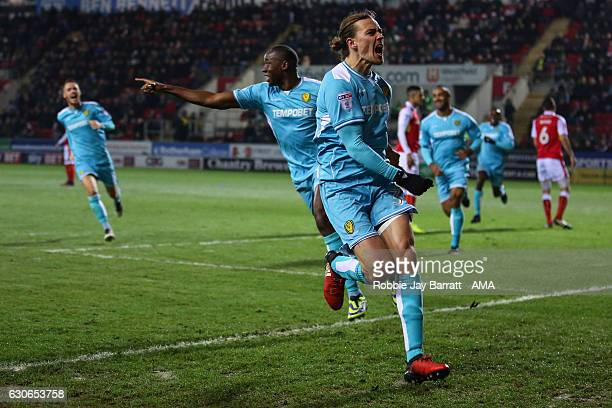 Jackson Irvine of Burton Albion celebrates after scoring a goal to make it 02 during the Sky Bet Championship match between Rotherham United and...