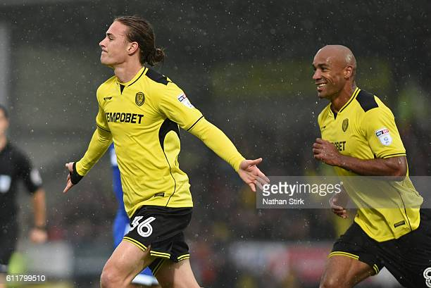 Jackson Irvine of Burton Albion celebrates after scoring the opener during the Sky Bet Championship match between Burton Albion and Cardiff City at...