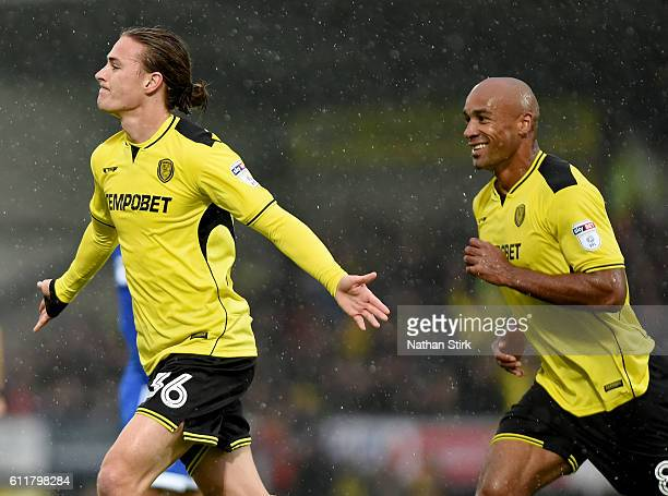 Jackson Irvine of Burton Albion celebrates after scoring the opening goal during the Sky Bet Championship match between Burton Albion and Cardiff...