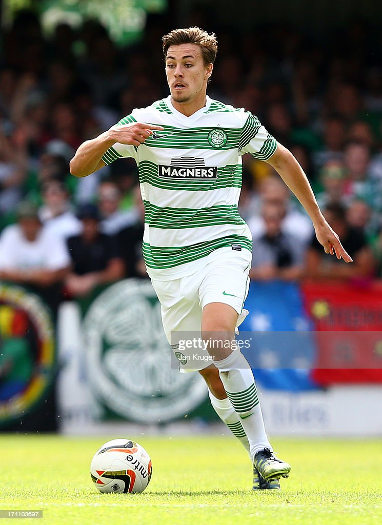 Jackson Irvine of Celtic controls the ball during a pre season friendly match between Brentford and Celtic at Griffin Park on July 20, 2013 in Brentford, England.